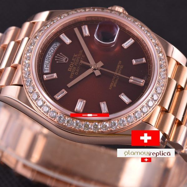 Rolex Day-Date 40 228345RBR Chocolate con Diamantes Hora & Bisel Oro RosaPresident 2017, buyreplicasdeluxe