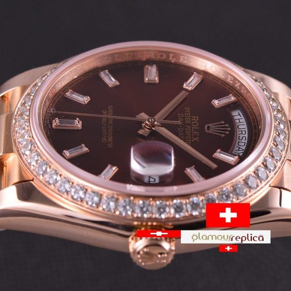 Rolex Day-Date 40 228345RBR Chocolate con Diamantes Hora & Bisel Oro RosaPresident 2017, calidad suiza replica